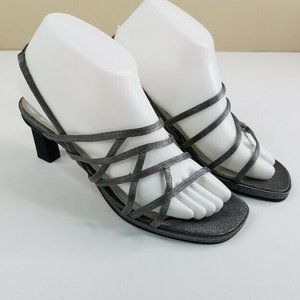 PM Collection Metallic Gray Sandals Size 8